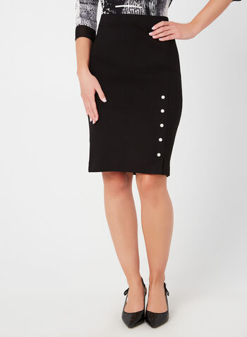 Pearl Trim Pencil Skirt , Black,  pencil skirt, skirt, pearl, pull-on, fall 2019, winter 2019