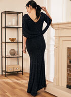 Drape Style Glitter Knit Gown, Black