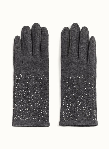 Crystal-Studded Gloves, Grey, hi-res