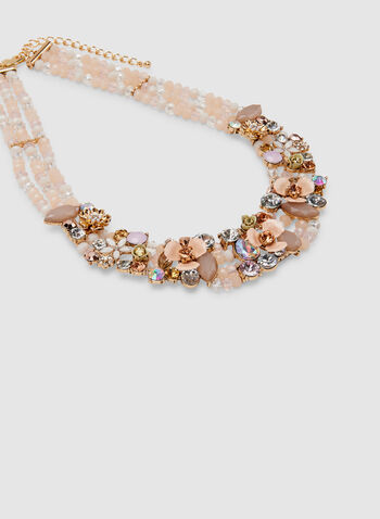 Beaded Collar Necklace, Pink, hi-res