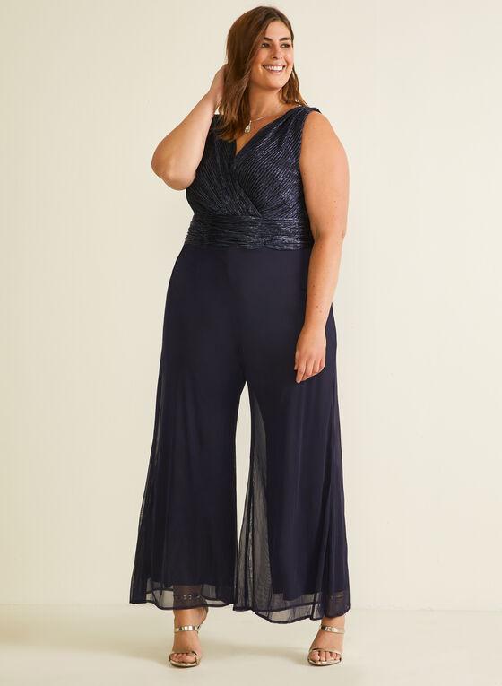 Combinaison à corsage métallisé et jambe large, Bleu