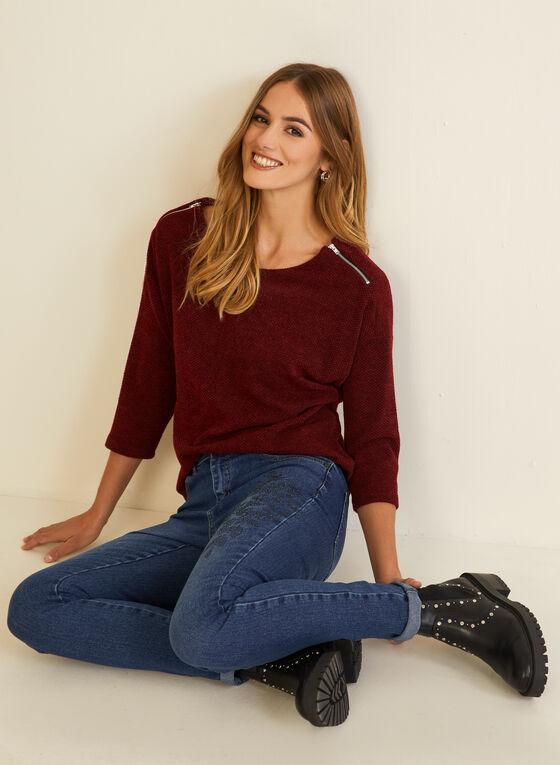 Knit Shoulder Zip Top, Red