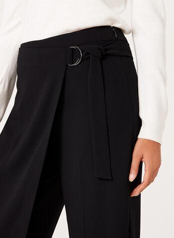 Modern Fit Faux Wrap Culottes, Black, hi-res