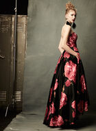 Rose Print High-Low Gown, Black, hi-res