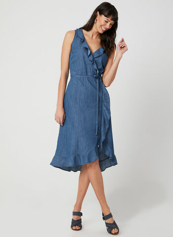 Sleeveless Faux Wrap Dress, Blue, hi-res,  cotton, ruffles, denim, belted, spring 2019, summer 2019
