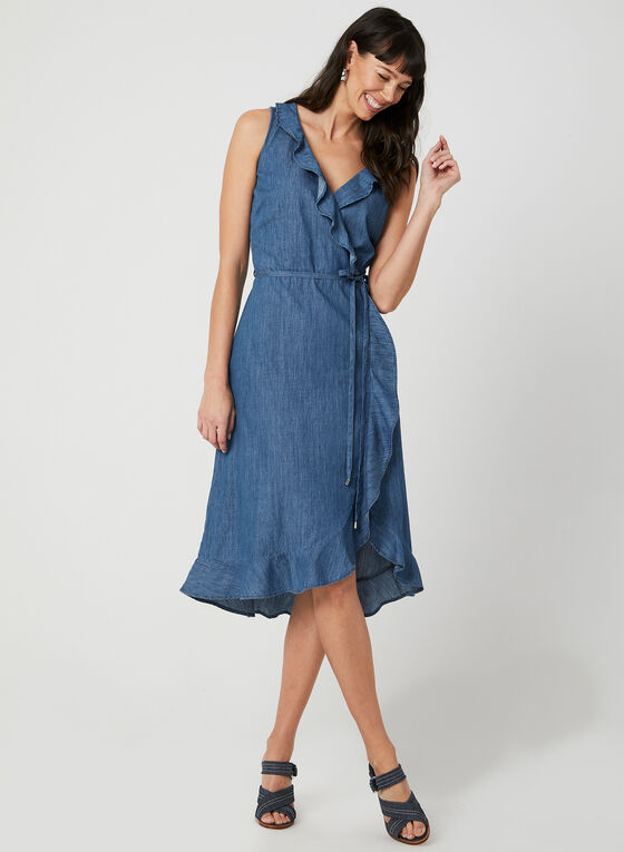 Sleeveless Faux Wrap Dress, Blue, hi-res