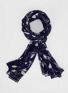 Foulard en mousseline motif feuilles, Bleu, hi-res