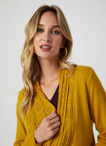 Textured Open Front Cardigan, Brown, hi-res,  open front, cardigan, knit, nylon, stitching, textured, fall 2019, winter 2019