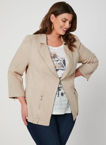 Vex - Blazer à détails zippés, Brun,  veste, manches longues, zip, œillets, épaulettes, printemps 2019