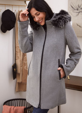 Wool Blend Faux Fur Coat, Grey,  fall winter 2021, outerwear, jacket, coat, wool, blend, twill, fabric, laura exclusive, detachable hood, detachable collar, faux fur trim, vegan leather, foldable cuffs, long sleeves, pockets, zip front, two way, a line, silhouette, heavy satin lining, warmth