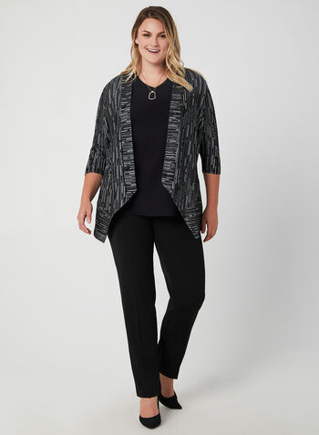 Jacquard Knit Open Front Top, Black, hi-res,  satin cardigan, edge-to-edge cardigan, blazer
