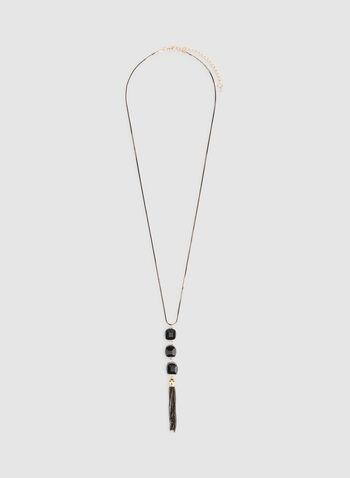 Cube Stones Tassel Pendant Necklace, Black, hi-res,  beaded necklace, tassel necklace