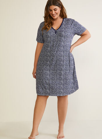 Printed Nightshirt, Blue,  fall winter 2020, pyjama, nightshirt