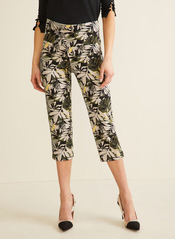 Palm Leaf Print Capri Pants, Black,  pants, capri, pull-on, palm leaves, bengaline, stretchy, slim leg, spring summer 2020