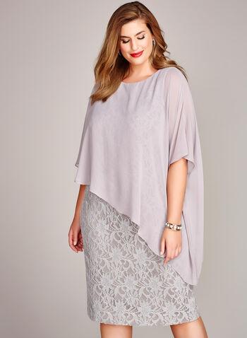 Glitter Lace Poncho Dress, Silver, hi-res