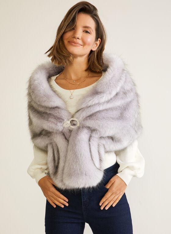 Faux Fur Stole With Buckle, Purple