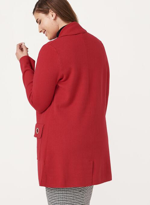 Ness - Notch Collar Cardigan, Red, hi-res