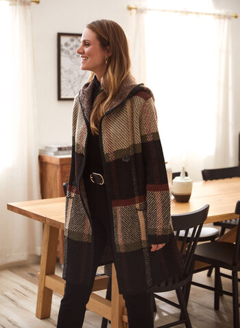 Hooded Plaid Cardigan , Green,  fall winter 2020, cardigan, hood, hooded, plaid, print, patch pockets, comfort, weekend, winter