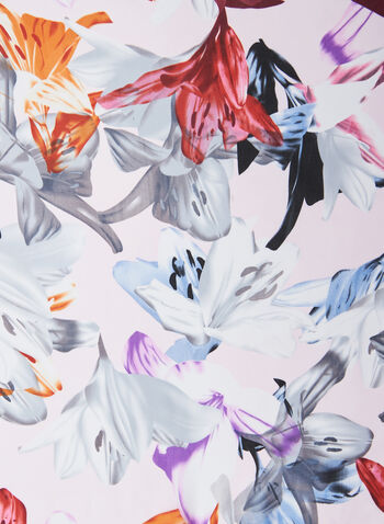 Floral Print Chiffon Scarf, Pink,  scarf, light, floral, chiffon, Spring 2020