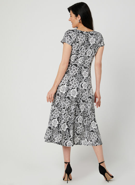 Perceptions - Lace Print Fit & Flare Dress, Silver