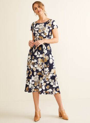 Floral Print Jersey Dress, Blue,  spring summer 2020, short sleeves, jersey fabric, fit & flare silhouette, midi length
