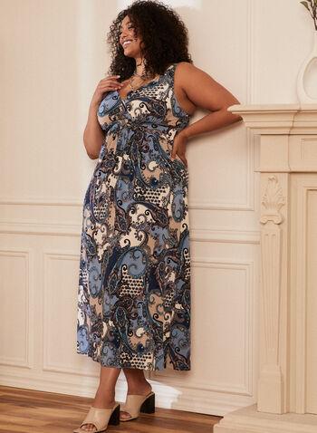 Paisley Print Maxi Dress, Multi,  spring summer 2021, maxi dress, long, paisley print, sleeveless, v-neck, made in Canada, soft, comfy, surplice