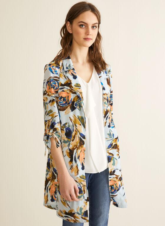 Veste longue ouverte à motif floral, Bleu