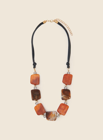 Geometric Lucite Necklace , Brown,  fall winter 2020, necklace, jewelry, accessories, geometric