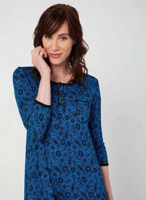 René Rofé - Paisley Print Nightgown, Blue, hi-res