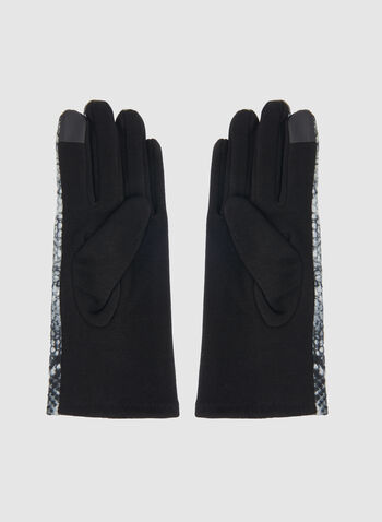 Snakeskin Print Gloves, Grey,  gloves, snakeskin print, fall 2019, winter 2019