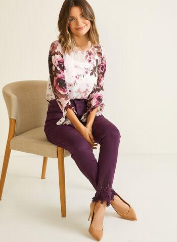 Floral Print Ruffle Sleeve Blouse, White,  blouse, top, floral, chiffon, long sleeves, slit, ruffled, chiffon, fall winter 2020