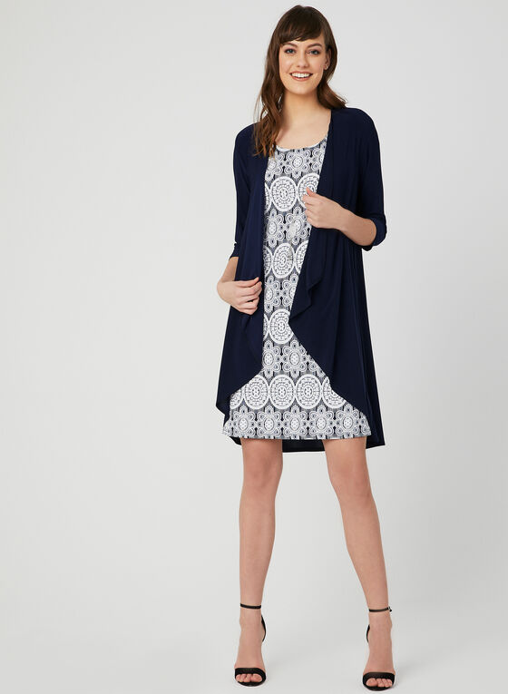 Jersey Shift Dress & Duster, Blue, hi-res