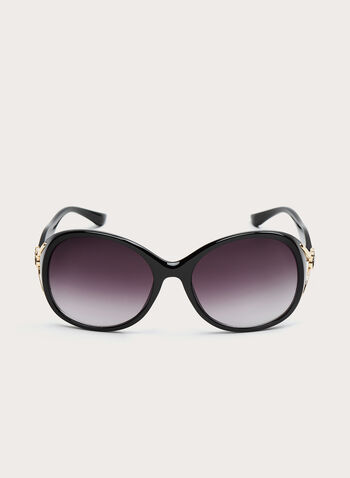 Round Plastic Floral Detail Sunglasses, Black, hi-res