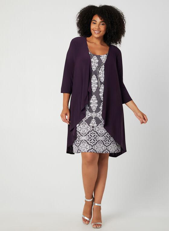 Robe et cardigan motif brocart, Violet