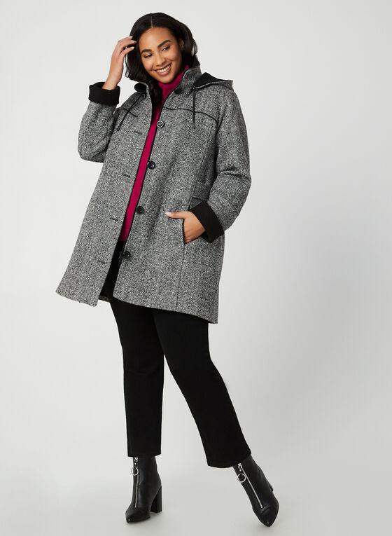 Portrait - Manteau en tweed à capuchon amovible, Noir