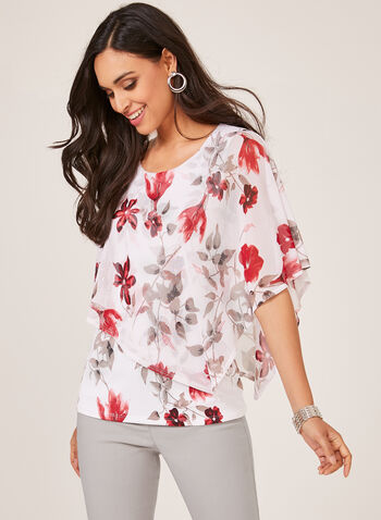 Floral Print Mesh Poncho Blouse, Red, hi-res