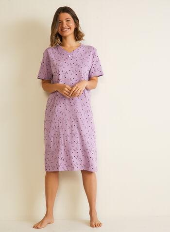 Robe de nuit à motif chats, Violet,  automne hiver 2020, robe de nuit, chemise de nuit, pyjama
