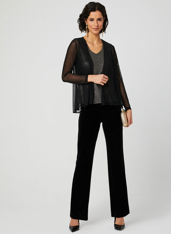 Sleeveless Top Bolero Set, Black, hi-res