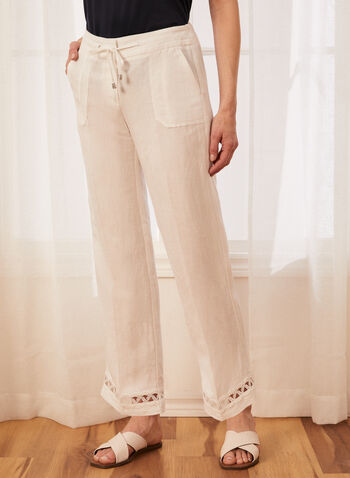 Pantalon à jambe large et détail crochet, Blanc,  pantalon, pull-on, à enfiler, coupe moderne, jambe large, poches, pinces, cordon, élastique, crochet, lin, printemps été 2021