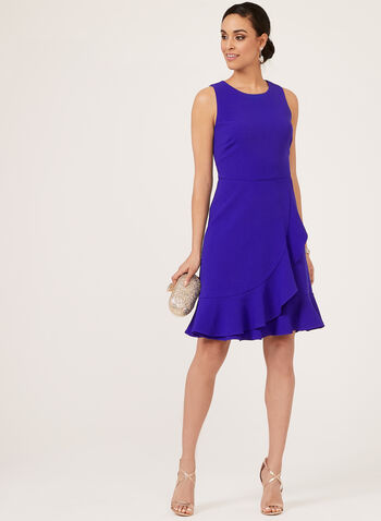 Jessica Howard - Fit & Flare Ruffle Dress, Blue, hi-res