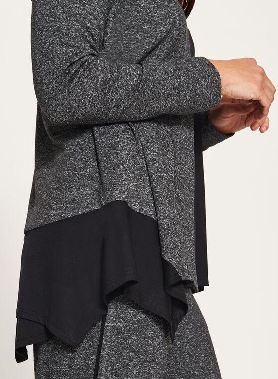Contrast Melange Knit Cardigan, Grey, hi-res