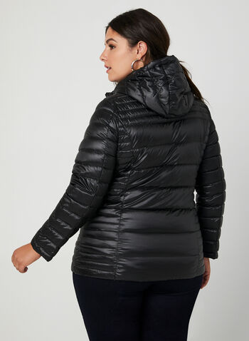 Quilted Packable Lightweight Coat, Black, hi-res,  coat, quilted, removable hood, long sleeves, pockets, fall 2019, winter 2019