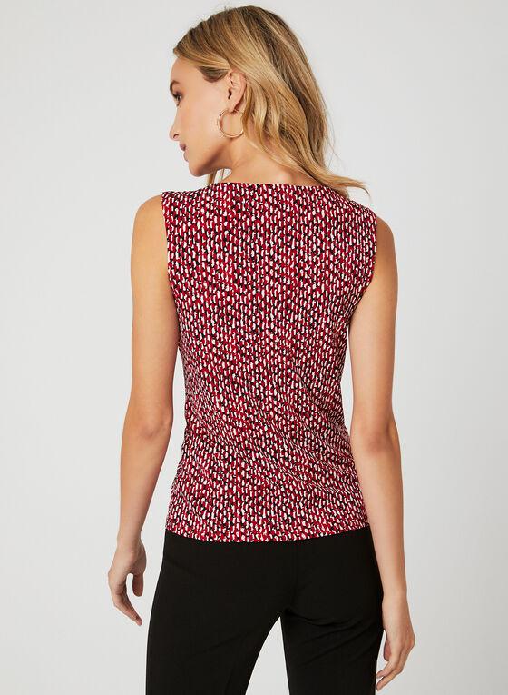 Haut sans manches motif abstrait et détail chaîne, Rouge, hi-res