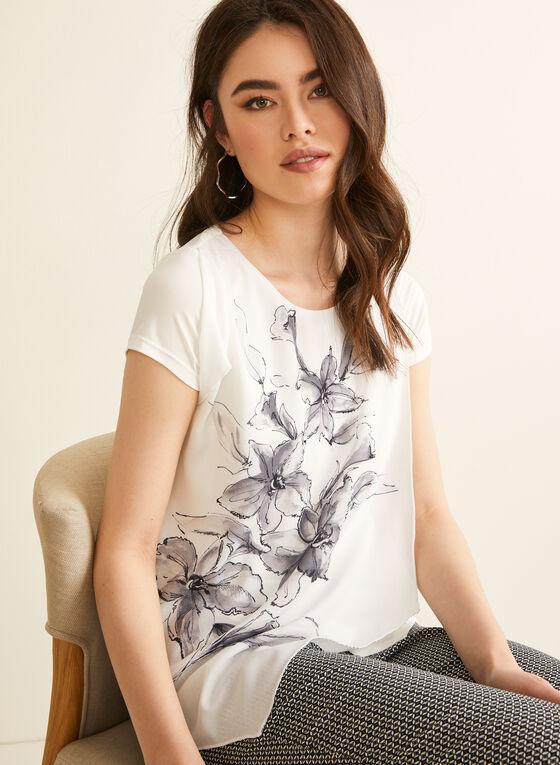 Haut édenté à motif floral, Blanc