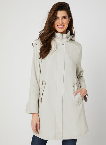 A-Line Raincoat, Off White, hi-res,  water resistant, removable hood, spring 2019