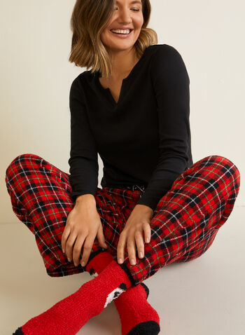 Ensemble pyjama et chaussettes , Noir,  pyjama, détente, encolure en V, automne hiver 2020, manches longues, panda, tartan