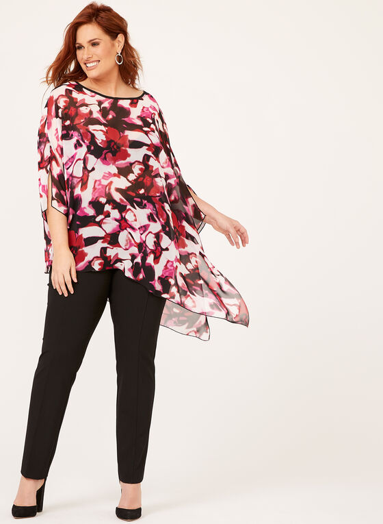 Sheer Floral Print Poncho Blouse, Multi