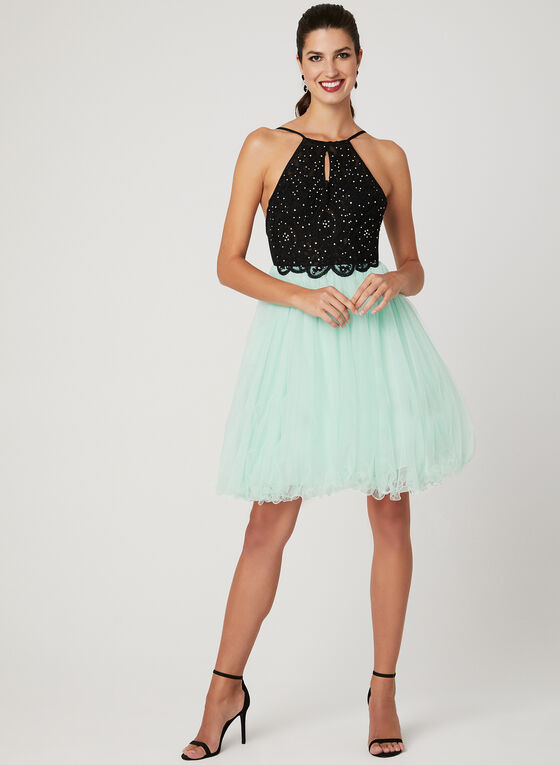Crystal Lace Fit & Flare Dress, Black