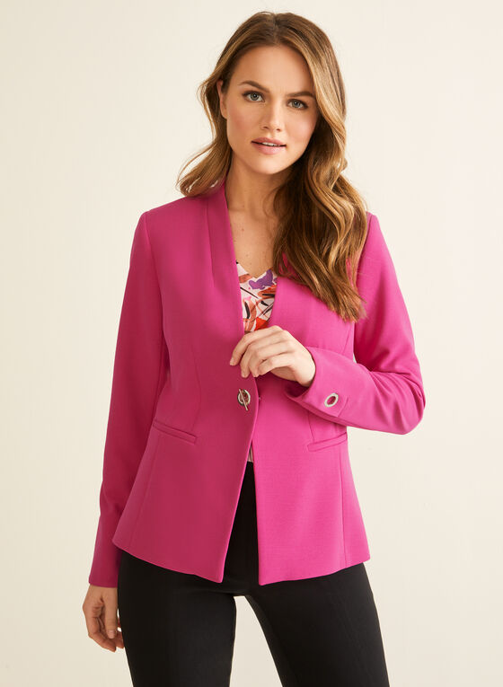 Single-Button Crepe Blazer, Purple
