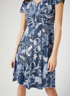 Robe texturée fleurie à fausse ceinture, Bleu, hi-res